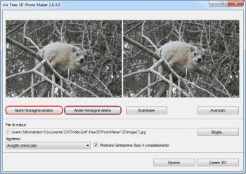 Free 3D Photo Maker: seleziona i file di input