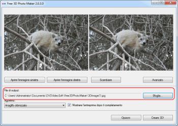 Free 3D Photo Maker: seleziona la cartella di output