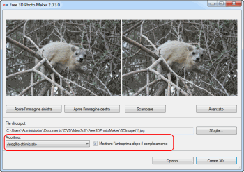 Free 3D Photo Maker: seleziona l'algoritmo