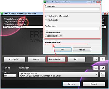 Free 3GP Video Converter: clicca su Nome di output... e forma il pattern del nome di output
