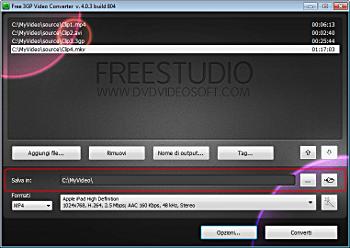 Free 3GP Video Converter: seleziona la cartella di output