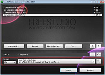 Free 3GP Video Converter: seleziona le impostazioni