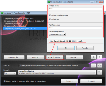 Free Video to Flash Converter: clicca su Nome di output... e forma il pattern del nome di output