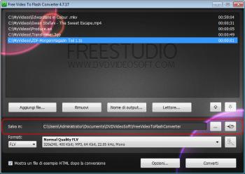 Free Video to Flash Converter: clicca su Sfoglia... e seleziona la cartella di output