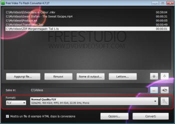 Free Video to Flash Converter: seleziona le impostazioni