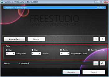Free Video to JPG Converter: seleziona profili