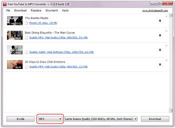 Free YouTube to MP3 Converter: Aggiungi playlists, video di risposta, canali e preferiti degli utenti