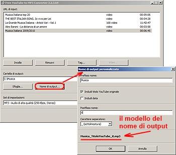 Free YouTube to MP3 Converter: clicca su Nome di output... e forma il pattern del nome di output