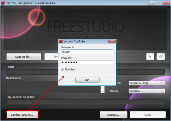 Free YouTube Uploader: accedi all'account YouTube